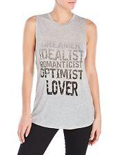 Haute Hippie LIGHT GREY COAL Cotton Dreamer Lover Sleeveless Top Size L $198
