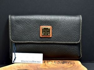 Dooney & Bourke Milly Pebbled Leather Wristlet Wallet Purse Black