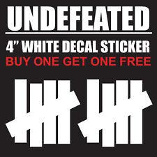 """Undefeated Logo 4"""" White Vinyl Decal Sticker - BOGO"""