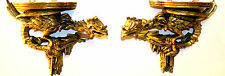 Antique Pair Of 18th Century Chippendale Gilded Hand Carved Wood Wall Brackets