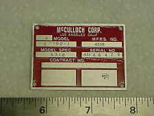 McCulloch Aircraft Drone Engine Data Plate Acid Etched 1940s- 1950s Army Air F