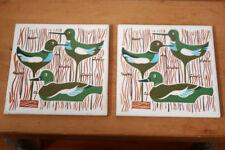 "Pair Vintage Mid Century Modern Eames Era Duck Decoy Tile Trivets Hangings 6""x6"""