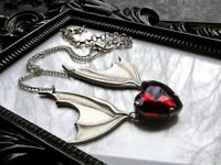 Alchemy Gothic witch goth red heart crystal silver batwing Necklace FREE P&P UK