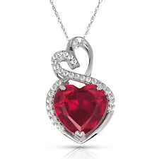 4.20 Carat Halo Red Ruby Double Heart Gemstone Pendant & Necklace14K White Gold