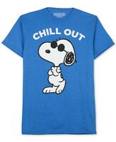 Peanuts Mens T-Shirt Blue Size Small S Chill Out Snoopy Graphic Tee Crewneck 199