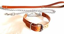 "LEATHER HALF CHECK/CHOKE DOG COLLAR PLUS LEATHER CHAIN LEAD FITS 16""-19"" NECK##"