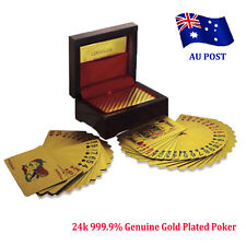 24k 999.9% Genuine Gold Plated Poker Playing Cards Deck With Wooden Box BO