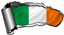 Ripped Open GASH Rip Torn Metal & Ireland Irish Country Flag Car Sticker Decal