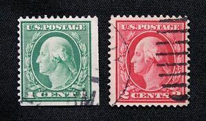 US Stamp Scott #405-406 ~ WASHINGTON 1c & 2c 1912 GR03