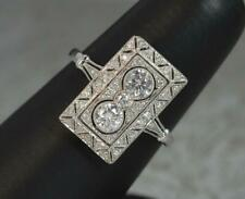 Stunning Art Deco Design 18ct White Gold & Diamond Panel Cluster Ring d0563