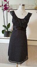 Next Black White Polka Dot Chiffon Frilly Ladies Tea Dress Size 10 Petite *