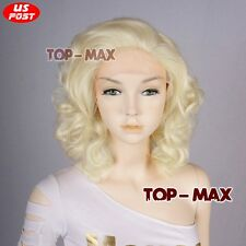 Marilyn Monroe 12 Inches Light Blonde Curly Women Heat Resistant Lace Front Wig