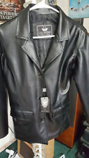 EA Collection Italy Style Women's Jacket Black Poly Blend Faux Leather Sz. M