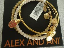 Alex and Ani LADYBUG SET OF 3 Charm Bracelets Shiny Gold New W/ Tag Card & Box