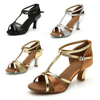 Brand New Women's Ballroom Latin Tango Dance Shoes heeled Salsa 4 Colors 255-S