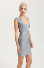 French Connection Celebrity Silver Glitter Bodycon Bandage Zip Casp Sleeve Dress