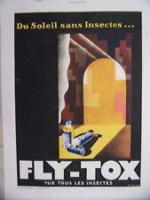 PLANCHE COULEUR ILLUSTRATION 20ème PUBLICITE FLY-TOX TUE TOUS LES INSECTES
