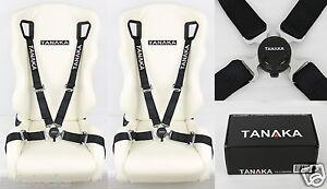 2X TANAKA UNIVERSAL BLACK 4 POINT CAMLOCK QUICK RELEASE RACING SEAT BELT HARNESS