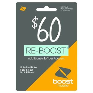 Boost Mobile - Re-Boost $60 Prepaid Phone Card Refilled directly to your mobile