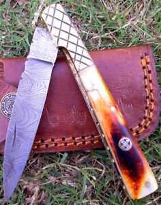 HAND FORGED  DAMASCUS STEEL FOLDING  KNIFE W/ CAMEL BONE&BRASS HANDLE FK3952