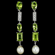 Sterling Silver 925 Genuine Natural Apple Green Peridot & Pearl Drop Earrings