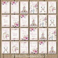 "Tribal Boho Floral Pink Girl Baby Moments Milestones Cards Pack 4×6"" Photo prop"