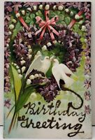 Birthday Greeting Glitter Decorated Flowers with Doves Embossed Postcard F1
