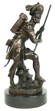 1800 British Soldier Solid Bronze Sculpture On Marble Base 42cm High Heavy. NEW.
