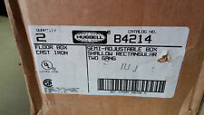 HUBBELL B4214 NIB CAST IRON FLOOR BOX 2G SHALLOW RECT SEE PICS SOLD IND #A24
