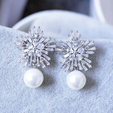 STUNNING 18K WHITE G/P AND GENUINE AUSTRIAN CRYSTAL, CZ & WHITE PEARL EARRINGS