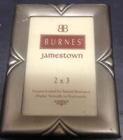 """1997 BURNES OF BOSTON JAMESTOWN Brushed Metal Pewter 2""""x3"""" Photo Frame"""