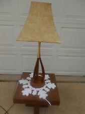 Mid-Century Danish Modern - Atomic - Walnut & Brass Tripod Table Lamp
