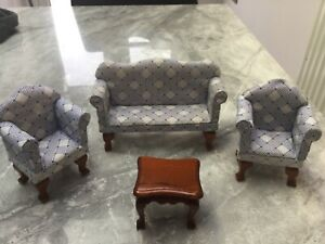 Dolls House Sitting Room Furniture, sofa two chairs and coffee table
