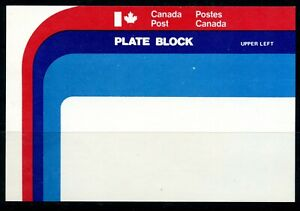 Weeda Canada Post UL Plate Block pack insert, Red/purple/blue rainbow design