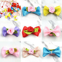 Nice DIY 10-20 pcs Satin Ribbon Rose Bow Appliques/Craft/ Wedding Decoration New