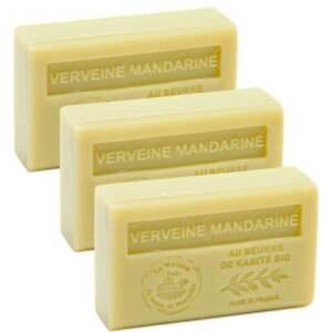 3 x 125g Bars - Verbena Mandarin Scented French Soap with Organic Shea Butter