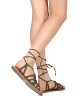 New Women Wild Diva Clover-81A Faux Suede Open Toe Caged Gladiator Flat Sandal