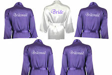 Personalised Set of 5 Satin Bridal Wedding Robe Dressing Gowns in White & Purple