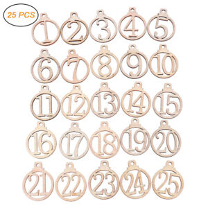 Wooden Christmas Countdown Advent Calendar Gift Tag Numbers DIY Home Party Decor