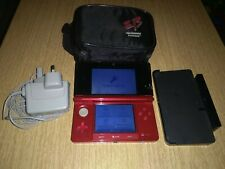 NINTENDO 3DS FLAME RED & CHARGER & CHARGING CRADLE & CASE