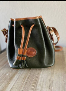 Vintage Dooney and Bourke Bucket Bag, handbag. Authentic green and brown leather