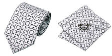 Lightgrey Novelty 100% Silk Classic Mens Necktie Tie Hanky Cufflink Set NT117
