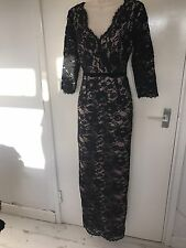 Gorgeous Black Champagne Lace Maxi Evening Dress From Monsoon, Size 10