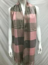 100% CASHMERE SCARF MADE IN SCOTLAND CHECKED COLOR PINK GRAY SUPER SOFT