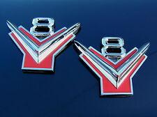 UK ~ FORD V8 PAIR Metal Car Badges Emblems NEW Suit Customline Mainline Fairlane