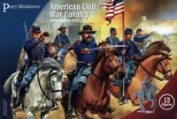 PERRY MINIATURES Civil War Cavalry 12 Mounted Figures with Flags 28mm Kit102