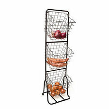 3 Tier Fruit Vegetable Basket Iron Wire Rack Stand Removable Basket