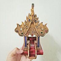 "Small Thai Spirit House Teak Wooden Mini Buddhist Temple Gold Jewels Glass 11"" H"