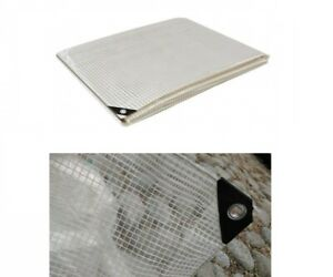 Clear Mesh Reinforced Tarpaulin Ground Transparent Sheet Many Sizes