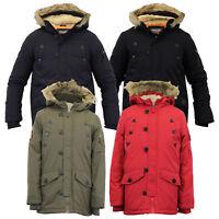 boys jacket parka coat Brave Soul kids padded sherpa fur lined hooded winter new